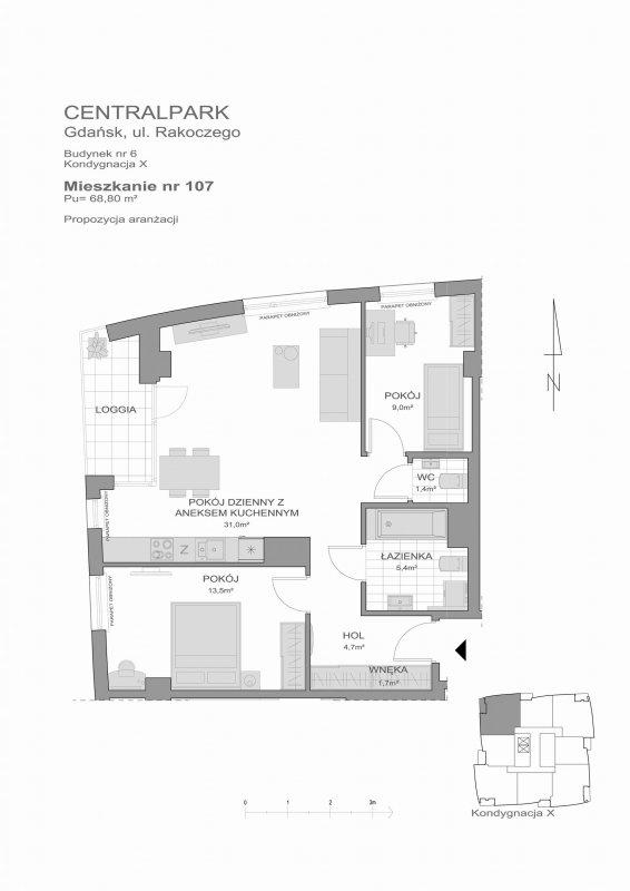 Karta lokalu Gdańsk, ul. Piecewska nr 6/107