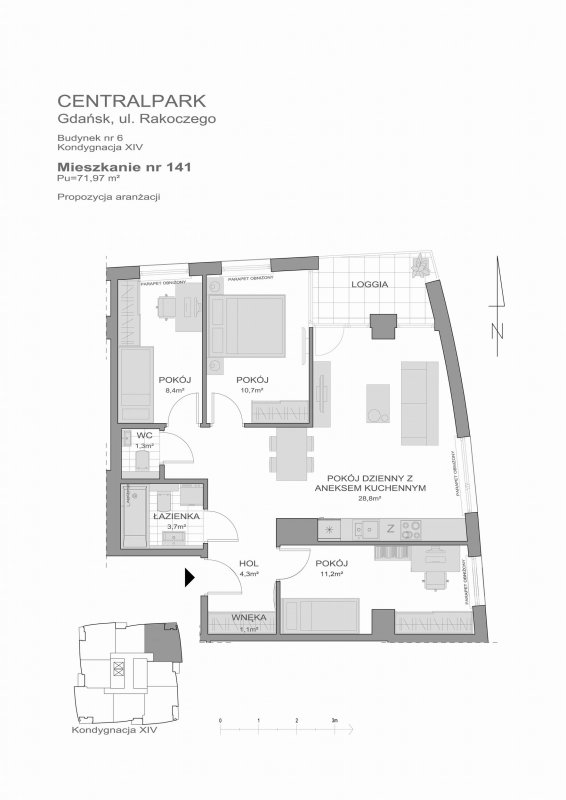 Karta lokalu Gdańsk, ul. Piecewska nr 6/141